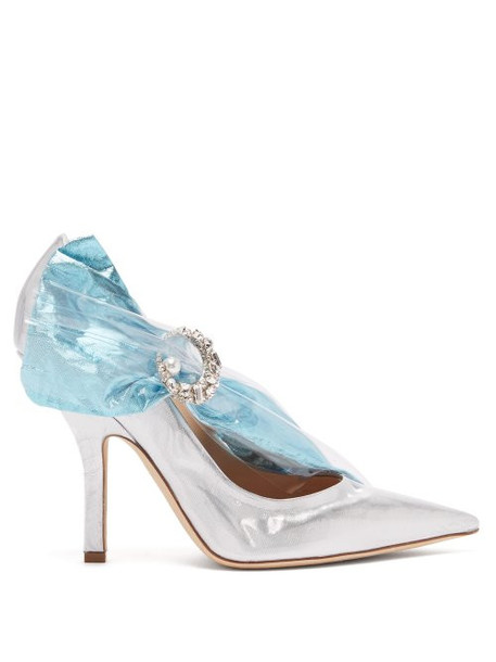 Midnight 00 - Crystal Buckle Pvc And Lamé Pumps - Womens - Silver Multi