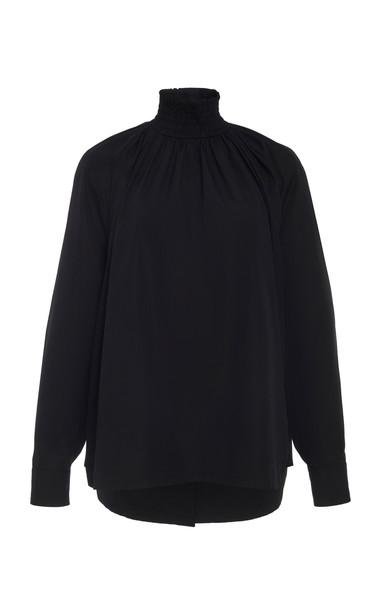 Prada Smocked Cotton High Neck Top in black
