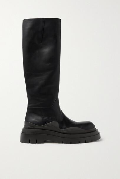 Bottega Veneta - Tire Rubber-trimmed Leather Knee Boots - Black