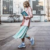 shoes,sneakers,platform sneakers,socks,pleated skirt,midi skirt,pink blazer,ysl bag