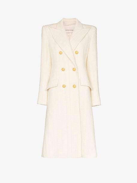 Alexandre Vauthier structured double-breasted wool coat in white