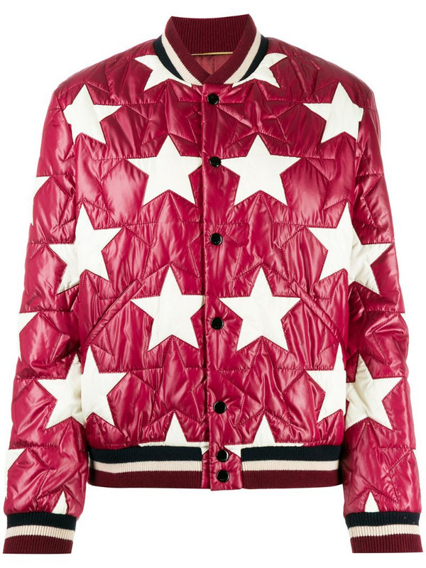 Saint Laurent star quilted bomber jacket in red