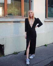 dress,black dress,slit dress,v neck dress,sneakers