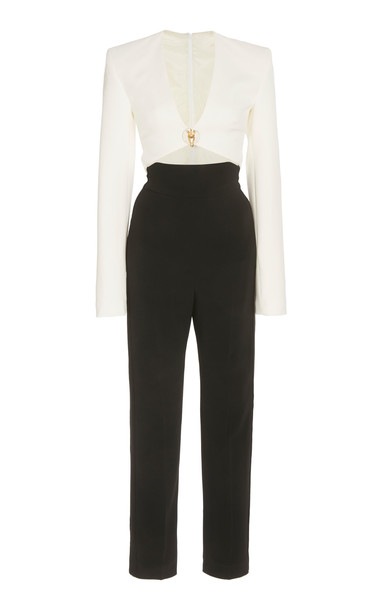 David Koma Cutout V-Neck Crepe Jumpsuit Size: 6 in black