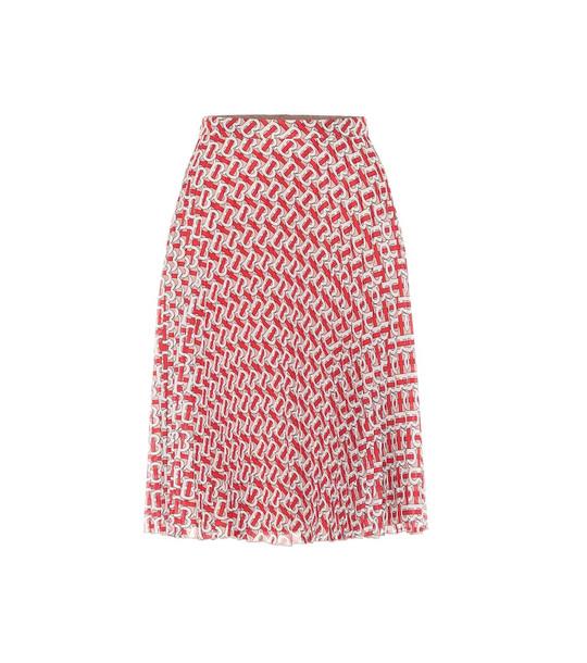 Burberry Monogram pleated chiffon skirt in red