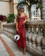 dress,midi dress,lace dress,red dress,sandals,gucci bag,white bag