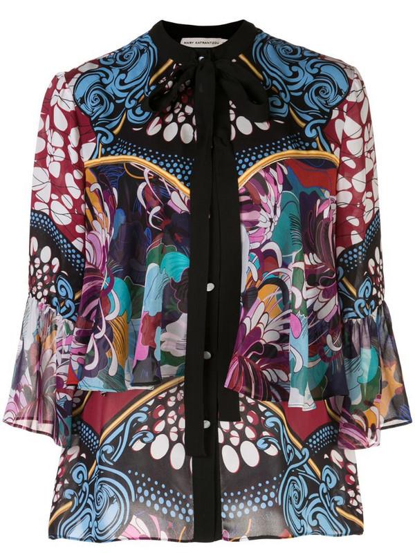 Mary Katrantzou Milana baroque floral print blouse in black
