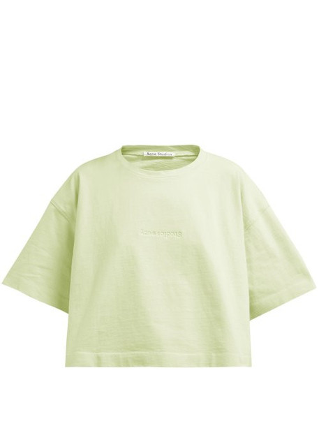 Acne Studios - Cylea Logo Embossed Cropped T Shirt - Womens - Green