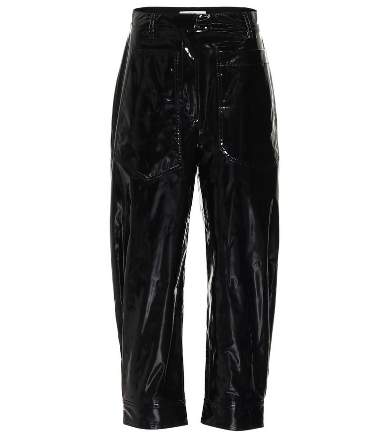 Tibi Patent faux-leather pants in black