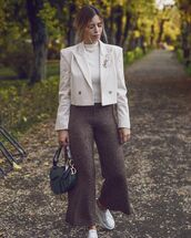 pants,wide-leg pants,zara,cropped pants,dior bag,white sneakers,white blazer,double breasted,cropped,white top