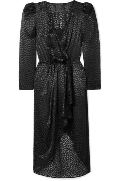 Dundas - Fil Coupé Chiffon Wrap Dress - Black