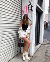 shorts,white shorts,ankle boots,white boots,fendi,bag,white jacket,black top