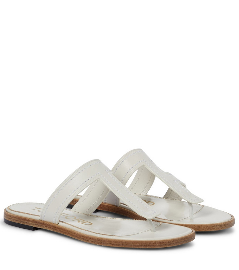 Tom Ford Leather thong sandals in white