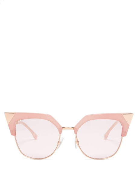 Fendi - Cat Eye Metal Sunglasses - Womens - Pink