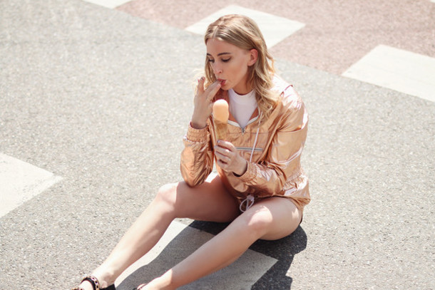 queen of jet lags blogger windbreaker metallic copper swimwear top bag dress shirt jewels