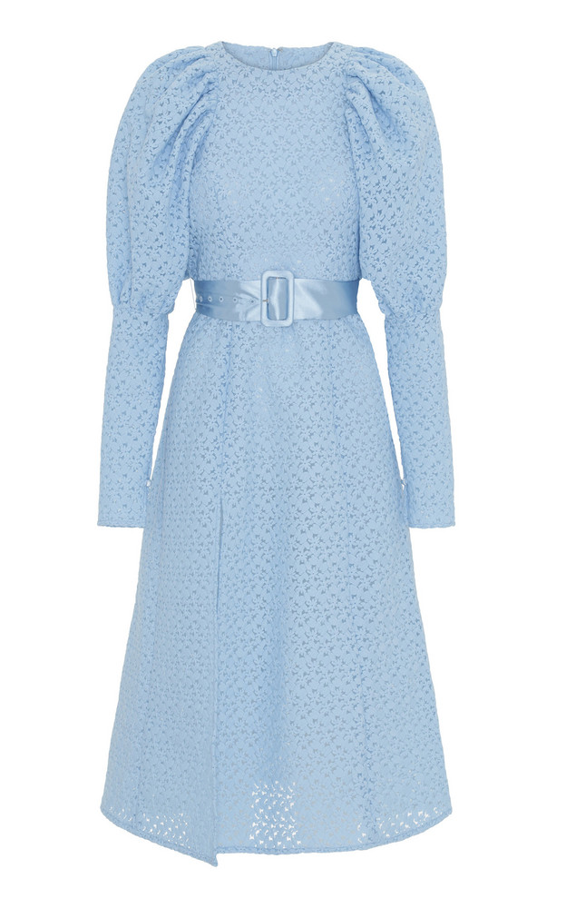 ROTATE Belted Lace Midi Dress in blue
