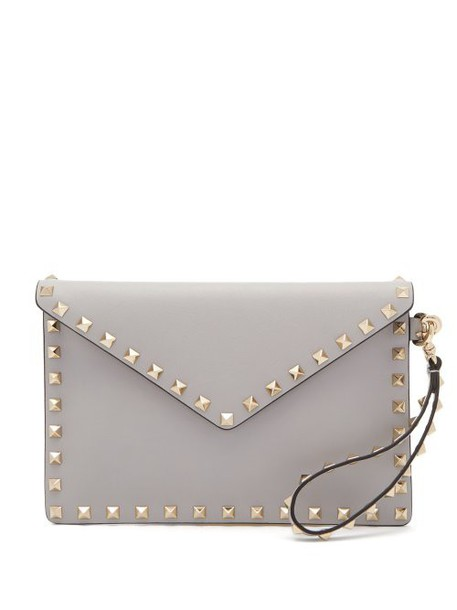 Valentino - Rockstud Leather Envelope Pouch - Womens - Light Grey