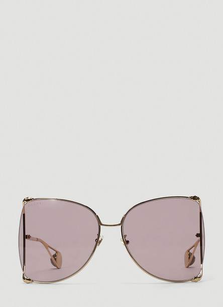 Gucci Oversized D-Frame Metal Sunglasses in Gold size One Size