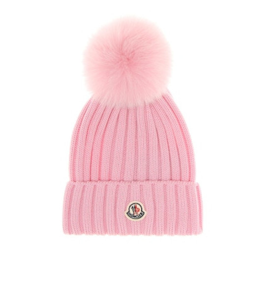 Moncler Fur-trimmed beanie in pink