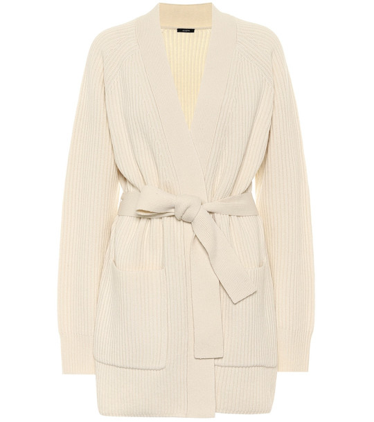 Joseph Ribbed-knit belted wool cardigan in white