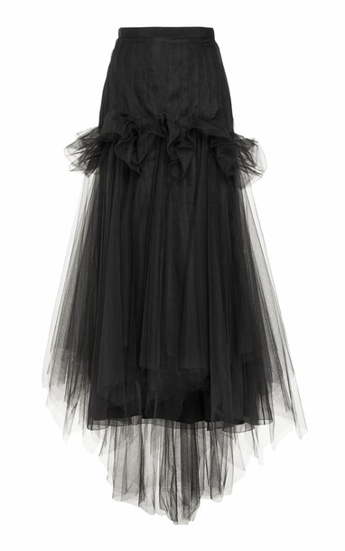 DELPOZO Pleated Tulle A-Line Skirt Size: 34 in black