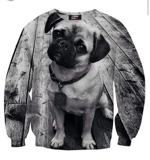 sweater black and white pugs double sided cute pug life sweatshirt