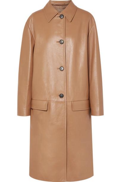 Prada - Leather Coat - Camel