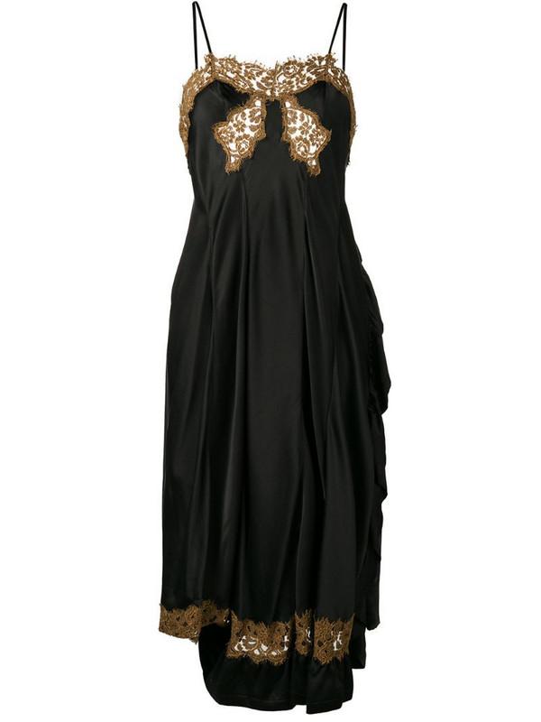 Giacobino low back lace slip dress in black