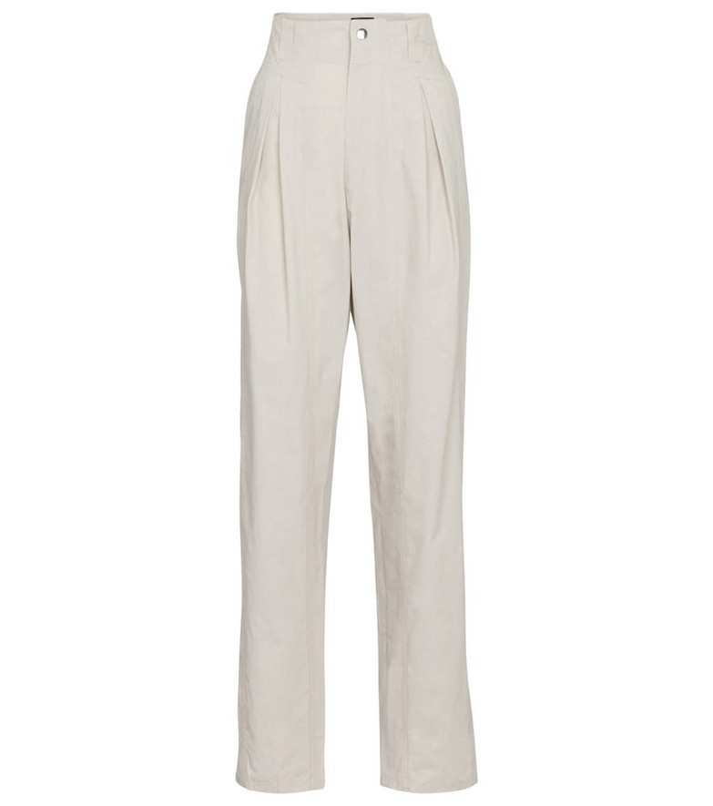 Isabel Marant Kilandy high-rise slim cotton pants in beige