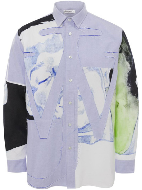 JW Anderson panelled Anchor appliqué shirt in blue