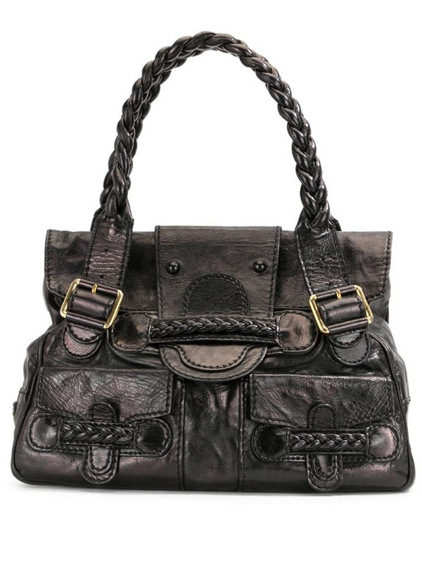 Valentino Pre-Owned braided handles tote bag in black