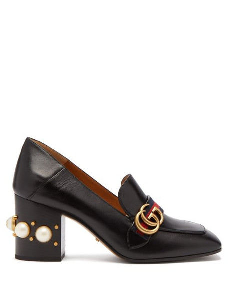 Gucci - Peyton Pearl Embellished Leather Loafers - Womens - Black