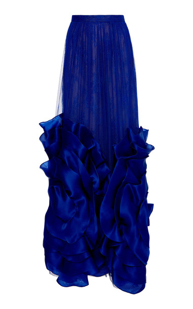Costarellos Silk Tulle Skirt With Oversized Organza Flowers Size: 36 in blue