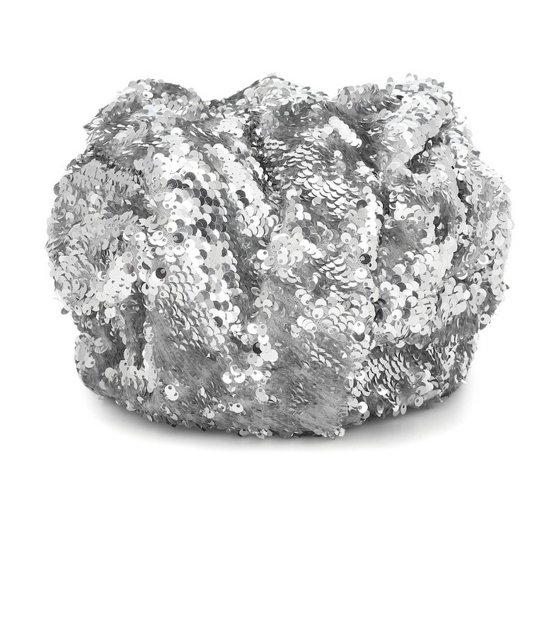 Erdem Sequined hat in silver