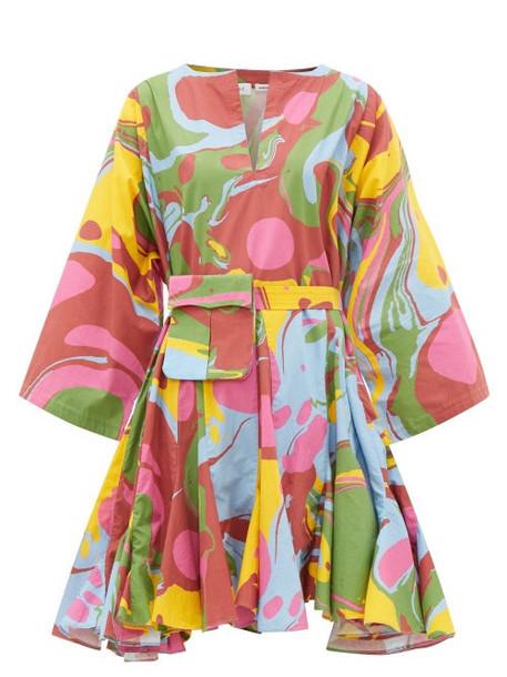 Rhode - Ryan Waist-pouch Abstract-print Cotton Mini Dress - Womens - Multi