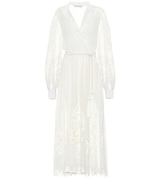 Oscar de la Renta Lace-trimmed cotton voile dress in white