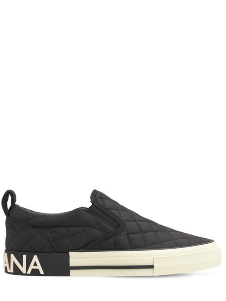 DOLCE & GABBANA 20mm Quilted Nylon Sneakers in black