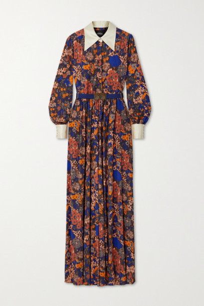 Runway Marc Jacobs - Belted Floral-print Jersey And Duchesse Silk-satin Jumpsuit - Brown