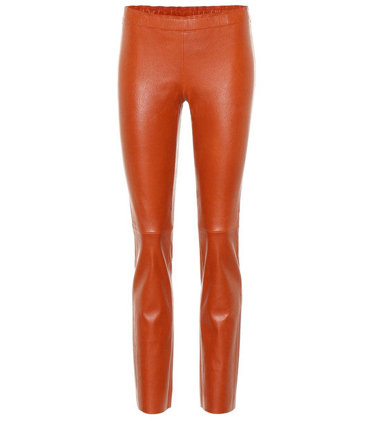 Stouls Jacky leather leggings in brown