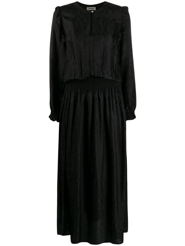 Zadig&Voltaire snakeskin-effect smocked satin dress in black