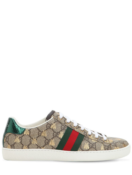 GUCCI 20mm New Ace Gg Supreme Canvas Sneakers in green / beige