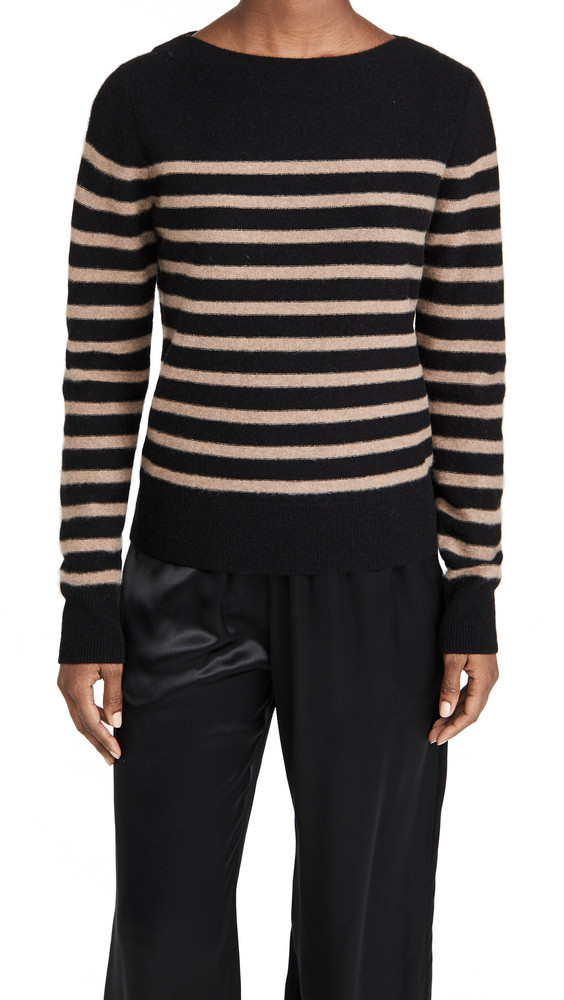 Vince Breton Striped Boat Neck Sweater in black