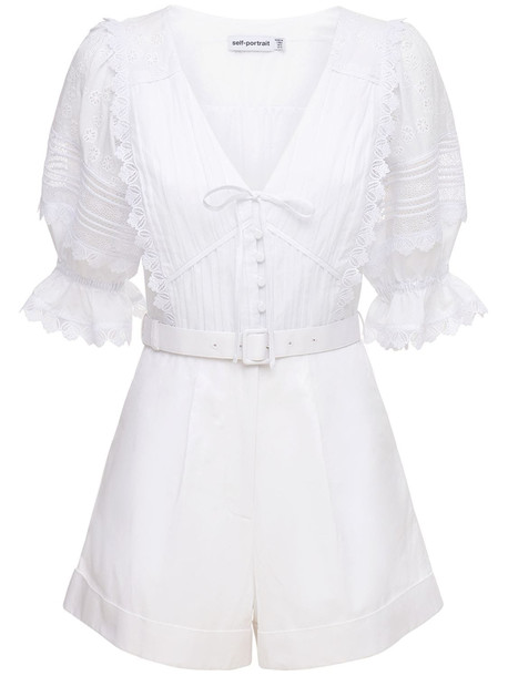 SELF-PORTRAIT Embroidered Cotton Playsuit in white