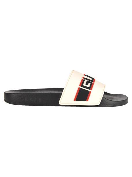 Gucci Stripe Rubber Slide Sandals in white / multi