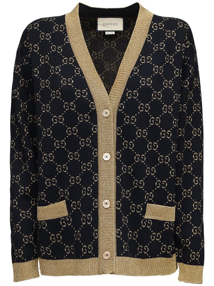 GUCCI Gg Supreme Lurex & Cotton Knit Cardigan in blue / gold