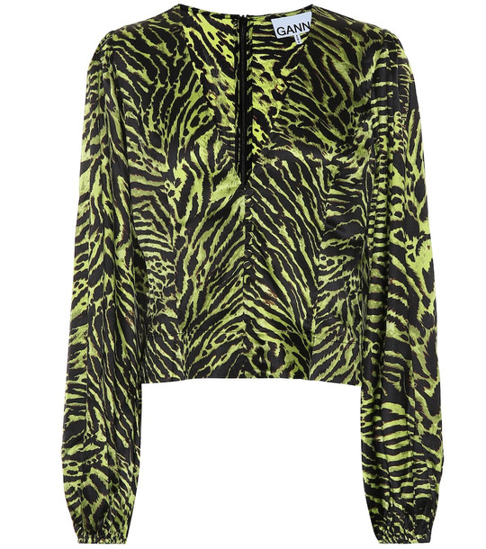 Ganni Tiger-print stretch-silk blouse in green