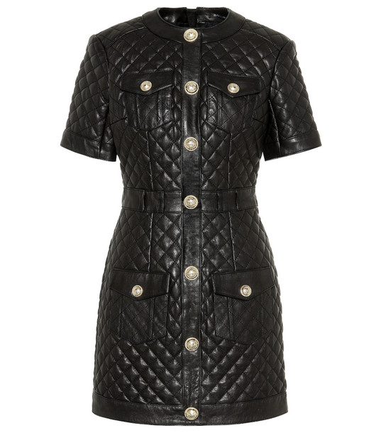 Balmain Quilted leather minidress in black