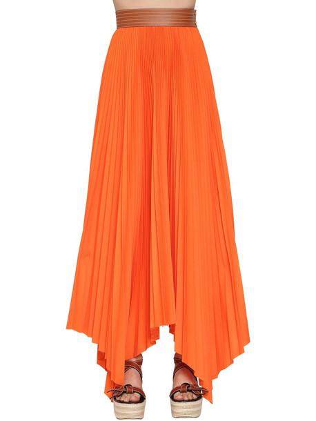 LOEWE High Waist Pleated Cotton Twill Skirt in orange