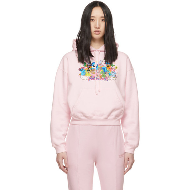 VETEMENTS Pink Unicorn Cropped Hoodie