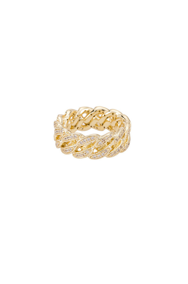 The M Jewelers NY The Iced Cuban Link II Ring in gold / metallic